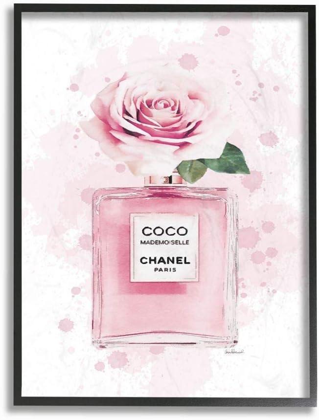 Stupell Bombing new work Industries Pink Flower Perfume Design unisex Fashion Desi Glam