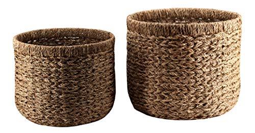 Decorasian Korb Aufbewahrung rund geflochten nachhaltig aus Seegras - 2er Set groß
