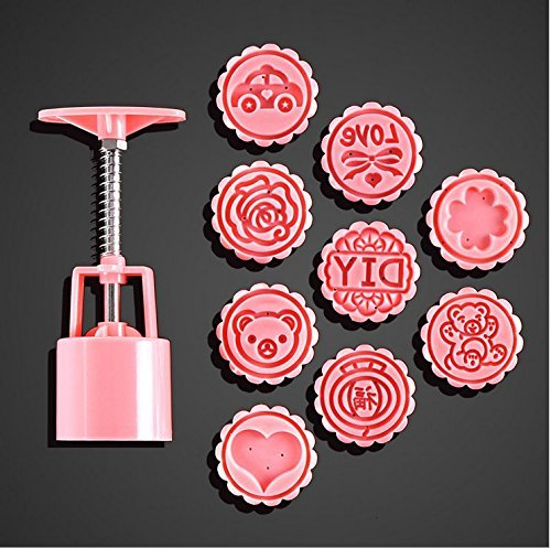 Asayu Hand Press Moon Cake Cookie Mold Mid-Autumn Festival DIY Decoration 1 Barrel 9 Stamps Rose Pink Flower