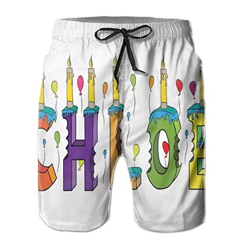 TENJONE Men's Big and Tall Swim Trunks Beachwear Drawstring Summer Holiday,Lettering with Cheerful Bitten Cake Candles Girly Birthday Party Design First Name,3D Print Shorts Pants,Medium