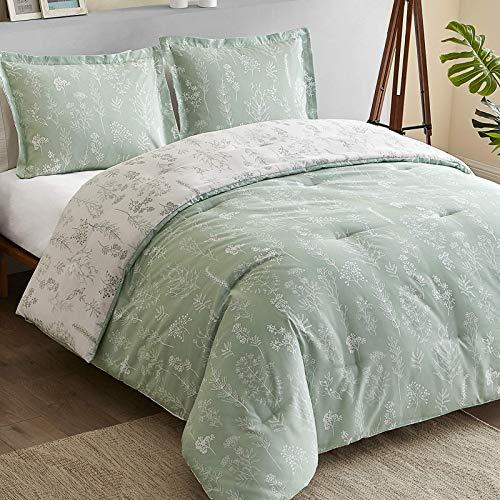 BedsureFloralQueenComforterSet-ReversibleFlowersandPlantsPrintedBotanicalQueenBedComforterSet,3PiecesBeddingSetwith2PillowShams(Sage Green & White,Queen)