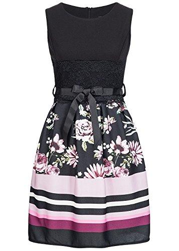 Styleboom Fashion® Damen Kleid Mini Dress Belt Flower PrintSommerkleid Cocktailkleid schwarz pink. Gr:M