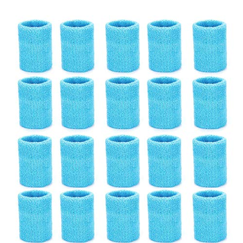 ZOEON 20 Stück Schweißbänder, Baumwolle Absorbierende Handgelenksband für Tennis Squash Fußball Basketball, Mehrere Farben Erhältlich (Hellblau)
