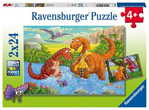 Ravensburger Kinderpuzzle 05030 - Spielende Dinos - 2 x 24 Teile