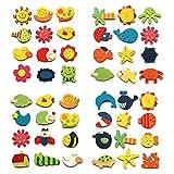 12pcs/lote colorido de madera de animales de dibujos animados pegatinas para el refrigerador de los niños juguetes de refrigerador imán para niños bebé juguete educación