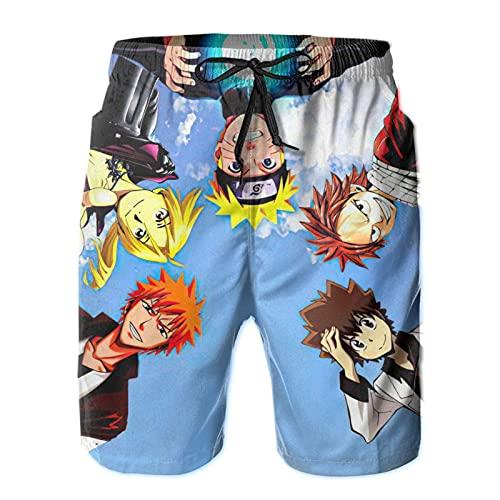 N \ A Mono anime D. Luffy Naruto - Bañador de secado rápido para adultos, pantalones cortos de playa ligeros para buceo, bañarse en el sol