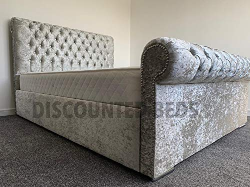 "Discounted Beds Premium Upholstered bed frame, modern stylish bed frame and 48"" headboard handcrafted in the UK, 3ft, 4ft, 4ft6, 5ft, 6ft sizes, Windsor. (SuperKing 6FT)"