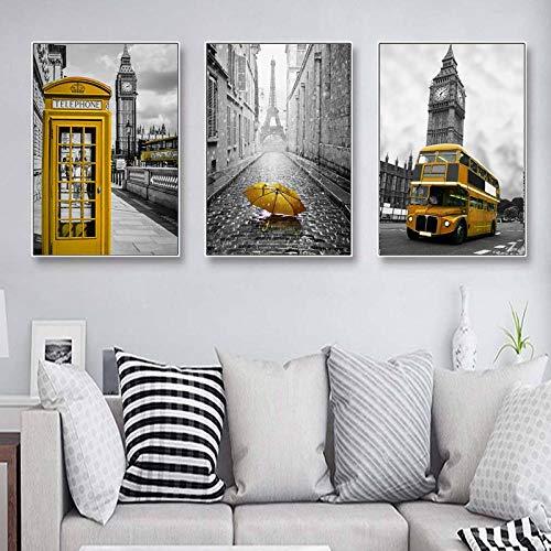 kldfig gele telefooncel paraplu bus Art muurposter Amerikaanse rode bus kunstdruk canvas schilderij woonkamer decoratie 40 * 60 cm niet ingelijst-3 stuks