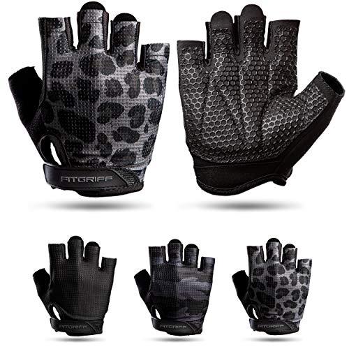 Fitgriff® Trainingshandschuhe V3 für Damen und Herren - Fitness Handschuhe für Krafttraining, Kraftsport, Training - Gym Workout Gloves (Leopard, 8)
