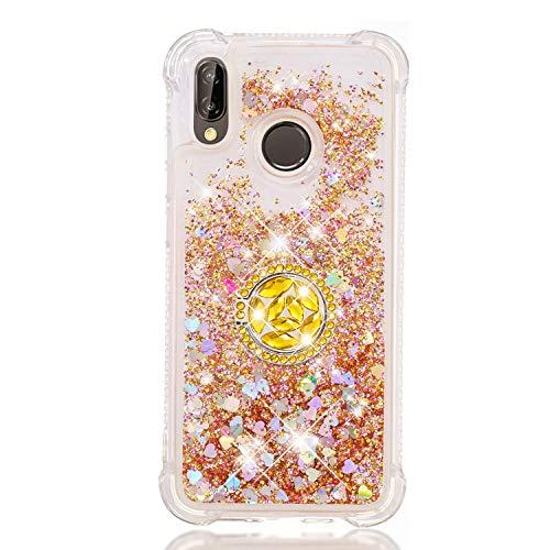 FAWUMAN Funda Huawei P20 Lite (2018)/ Nova 3e TPU Silicona Purpurina Carcasa,Funda para teléfono móvil de Arena movediza líquida en Forma de corazón con Base de Anillo de Diamantes (Amarillo Dorado)