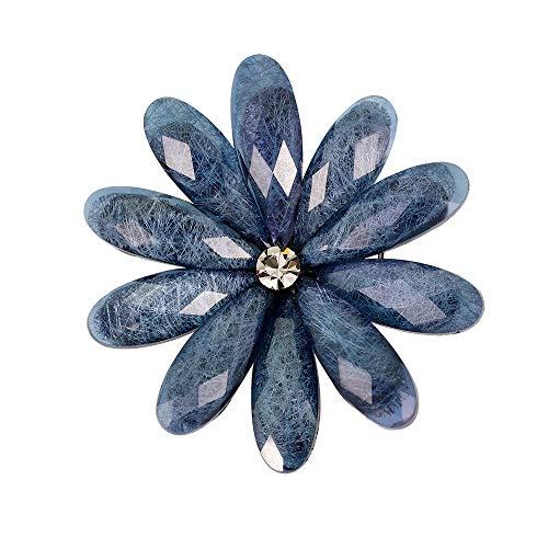 YAZILIND Vintage acrílico pétalo de Flores Broche de Las Mujeres Breastpin Ramillete de niñas de cumpleaños de Regalo de joyería (Color 5)