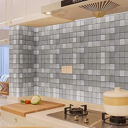 Carrelage Adhesif Mural 60X300Cm Cuisine Autocollants Résistant À Lu0027Huile  Haute Température Mosaïque Auto