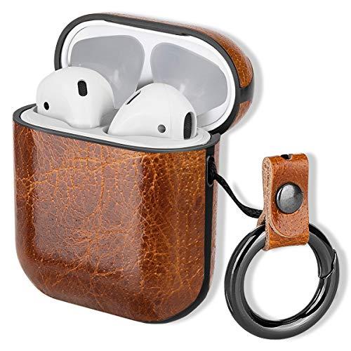 MroTech für Airpods Hülle Leder Hülle, AirPods Lederhülle Echtleder Schutzhülle Cover Tasche Stoßfeste Gehäuse Ledertasche mit Karabiner kompatibel für Apple AirPods Aufladen Hülle -Vintage Kaffee