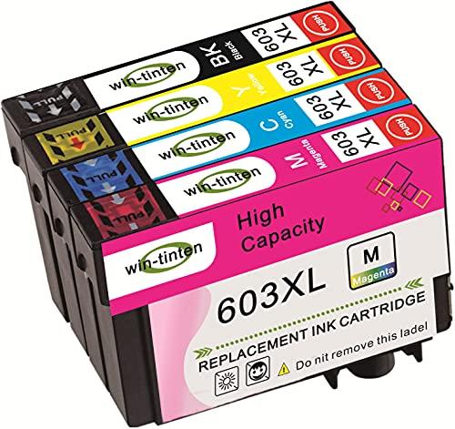 Win-Tinten 4 cartuchos de tinta negra de repuesto para Epson 603xl compatible con Epson Expression Home WF-2830DWF WF-2835DWF WF-2850DWF XP-2100 XP-2105 XP-3100 XP-3105 XP-4100 XP-4105