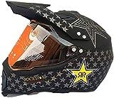 Casco Motocross con la visiera, Nero / Rockstar, Moto Off Road Casco for adulti fronte pieno Croce MTB casco del motociclo ATV Casco da motociclista for donne degli uomini, Certificazione D.O.T eterna