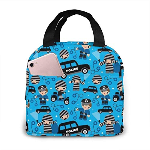 DJNGN Thiefs Cobs and Robbers Lunch Bag Cooler Tote Box Women Men Lunch Organizer Tote Bag 21 x 20 cm/8.3 x 7.9 Inch