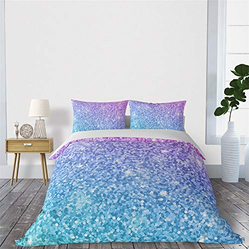 SHINICHISTAR Blue and Purple Pastel Colors Duvet Cover Set, Comforter Cover for Girls, Decorative 3 Piece Bedding Set with 2 Pillows sham, Queen Size