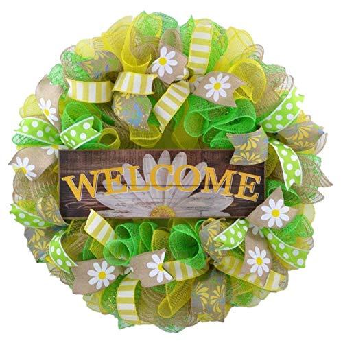 Daisy Wreath - Spring Flower Everyday Deco Mesh Door Wreath - Burlap Yellow White Green