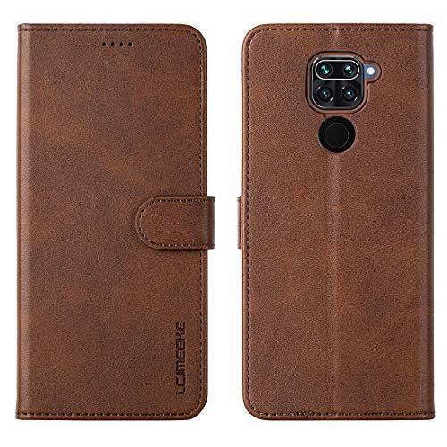 FUNMAX+ Redmi Note 9 Hülle, PU Leder Handyhülle mit 3 Kartenfächer, Schutzhülle Case Tasche Magnetverschluss Flip Cover Stoßfest für Xiaomi Redmi Note 9 (Braun)