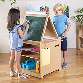 Guidecraft Desk to Easel Art Cart - Kids  Folding Arts and Crafts Activity Center with Chalkboard Whiteboard Paper Roller Paint Cups and Fabric Storage Bins