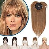 Silk-co Toupet Capelli Donna Veri Extension Clip 100% Remy Human Hair Topper Uomo Capelli Lisci Naturali 25 cm (32 g) #6 Marrone Chiaro