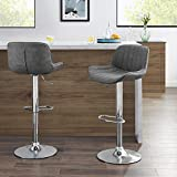 Volans Mid Century Modern Faux Leather Swivel Adjustable Height Bar Stools Set of 2, Counter Height Pub Chair with Back, Chrome Base, Gray