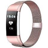 BeYself Compatible para Fitbit Charge 2 Correa, Mesh Loop Pulsera de Acero Inoxidable Correa con Único Imán Cerradura para Fitbit Charge 2 (S//Rose Pink)