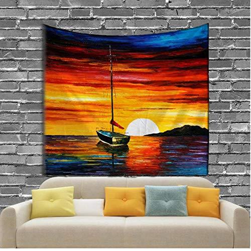 fczka El Estilo de la Pintura Tapiz Colgante de Pared Barco en el mar Decoración de Interiores Playa de Arena Toalla de Picnic 51x59 Inches(130x150cm)