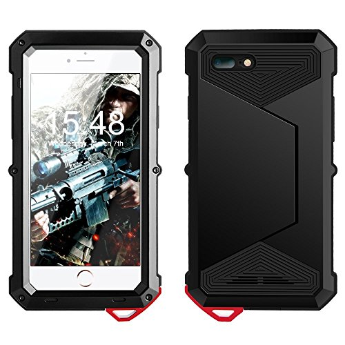 Yarrashop iPhone 8 Plus Impermeabile Custodia 5,5 Zoll Corpo Completo con Protezione Incorporata dello Schermo per Apple iPhone7 iPhone 8 Nero