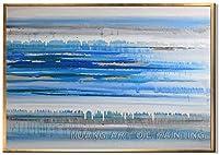 PLLP ホーム回廊リビングルームベッドルームのためのノベルティフレームレス壁画、キャンバス手の油絵塗装、ブルーライトグレー景観パターン設計の北欧絵画写真アート壁のポスター抽象近代,40X60Cm(16X24Inch)いいえフレーム,40X60Cm(16X24Inch)いいえフレーム