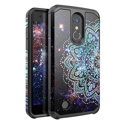 Nicelycase LG Aristo 2/Aristo 3/Aristo 2 Plus/K8 Plus/K8 2018 Case, Shockproof Protection Hard Plastic+Silicone Rubber Hybrid Protective Phone Case (Mandala in Galaxy)
