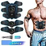 Byroras Estimulador Muscular, Electroestimulador Muscular Abdominales USB Recargable ABS Trainer para Abdomen/Brazo/Piernas/Cintura con 10PCS Reemplazo Gel Pad (Hombres/Mujeres)