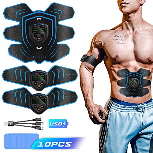 HAM-Fit EMS estimulador Muscular estimulador Muscle Toner Abs Trainer con Pantalla LCD,USB Rechargeable Fitness Training Gear AB Belt