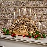 Ponte di Natale – Questo squisito ponte di candela è un classico di Natale e raffigura una scena invernale che migliorerà l'atmosfera festiva all'interno della vostra casa. Finitura tradizionale in legno: questo ponte di candela offre un look classic...