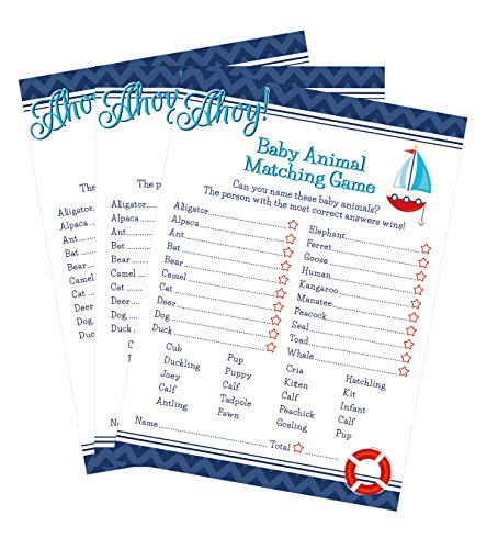 Ahoy Nautical Animal Match Baby Shower Game - 24 count