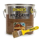 Bondex 2,5 Liter Express Garten Holz Lasur Oregon Pine + Xyladecor Pinsel