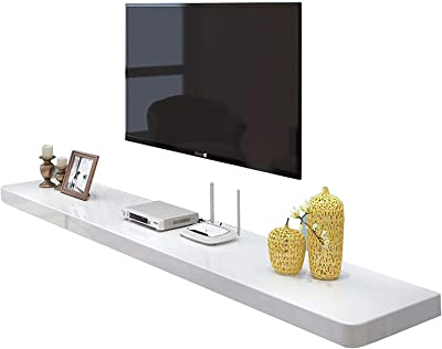 TV Cabinet, TV Lowboard, Floating Shelves, Wall Mounted Media Console, TV Set-Top Box Shelves, Wood TV Background Wall Shelf, 39.3/47.2/55.1/62.9 inch TV Cabinet Word Board.