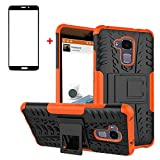 FullProtecter Huawei Honor 5C Hülle,Bumper Cover Schutz Tasche Handyhülle Schutzhülle Silikon TPU+PC Hardcase für Huawei Honor 5C(Orange)+2 Stück Panzerglas Schutzfolie