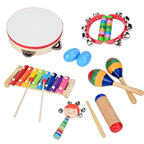 Zerodis Baby Musical Instruments, 13 Pcs Safe Non-toxic Wooden Musical Instruments Kids Early Learning Musical Toy for Boys and Girls