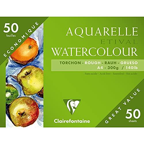 Clairefontaine 96465C Grobkorn Torchon Etival Aquarellpapier Mappe (mit 55 Bögen, 100% Zellulose, Großverpackung, besonders geeignet für Schüler oder Anfänger, DIN A4 21 x 29,7 cm, 250 g) weiß
