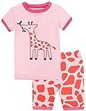elowel Jirafa Conjunto de Pijamas Cortos de 2 Piezas para Ninas 100% de Algodon (Tallas 6 Anos)