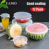 Silicone Stretch Lids, Reusable Food Covers for Bowl Cup, Safe in Microwave Dishwasher Refrigerator BPA-Free Durable and Expandable, Fit Different Sizes of Container to Keep Food Fresh 12pcs