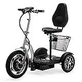 VELECO 3 Wheeled Folding Electric Scooter Mobility Trike ZT16 (Silver)