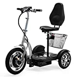 VELECO 3 Wheeled Folding Electric Scooter Mobility Trike ZT16 (Silver)