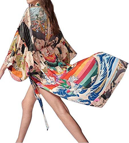 Orshoy Damen Morgenmantel Boho Strand Badeanzug Maxi Lang Kimono Kleid Bedecken Pareos Kimono Cardigan Schlafmantel Vintage Bademode Sommerkleid Strandkleid Muster Kimono Bademantel