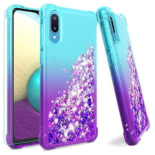 Samsung A02 Case,Galaxy A02 Case with HD Screen Protector,M MAIKEZI Gradient Quicksand Glitter Bling Flowing Liquid Floating TPU Bumper Cushion Protective Cute Case for Samsung Galaxy A02(Teal Purple)
