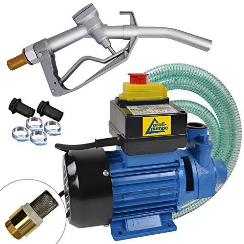 Dieselpumpe Ölpumpe Heizölpumpe Biodiesel Profi-600, 230V Elektro FASS-Pumpe mit Schlauch, Aluminium Zapfpistole und QUALITATIV-HOCHWERTIGEM Zubehör (Messing-RV) f. IHRE Private TANKSTELLE
