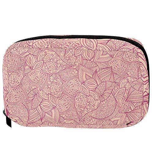 TIZORAX Cosmetic Bags Seamless Pink Petal Handy Toiletry Travel Bag Organizer Makeup Pouch for Women Girls