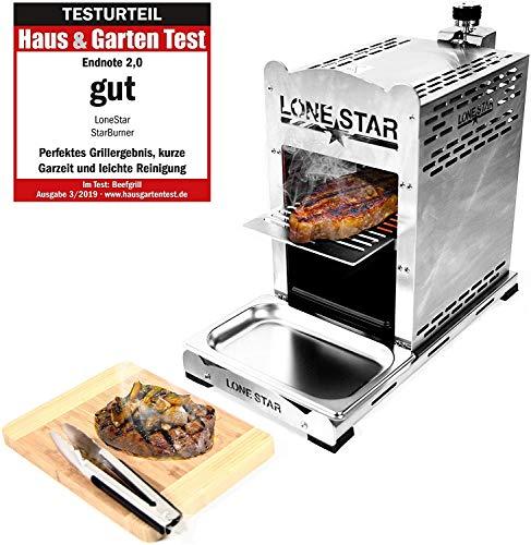 LoneStar StarBurner Edelstahl Beef Grill, Hochtemperatur Gasgrill, Beefmaker Oberhitzegrill bis 800°C, Gas Griller, Steak Grillen wie ein Profi, Steakgriller, Gasbrenner 4,3 KW 【Nachfolgemodell】