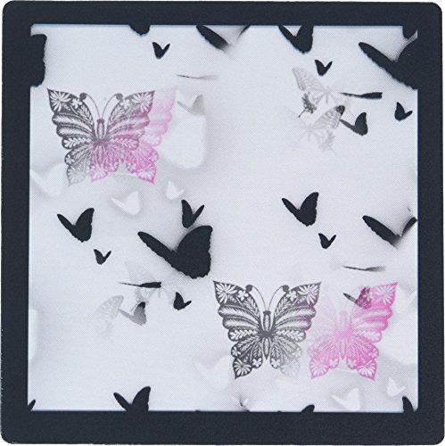 3drose 8x 8x 0,25grau N pink Schmetterlinge mit Bordüre Schwarz Mauspad (MP 109478_ 1)